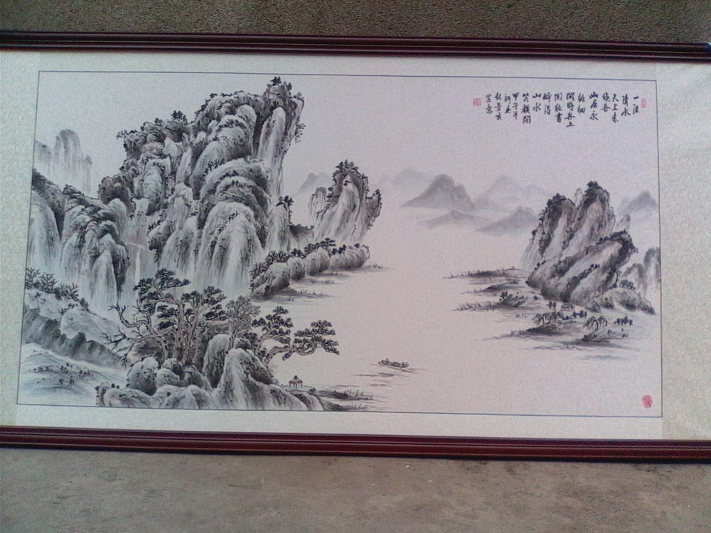 美丽中国好书画参赛作品6尺横幅山水清音